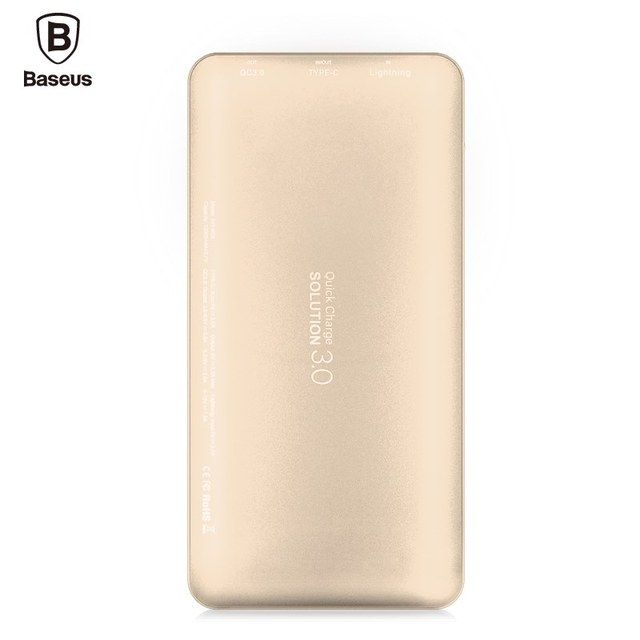 New Baseus QC 3.0 10000mAh 8 Pin to Type-C/Micro to Type-C Portable Universal Fast Charging External Battery MSDS Certification