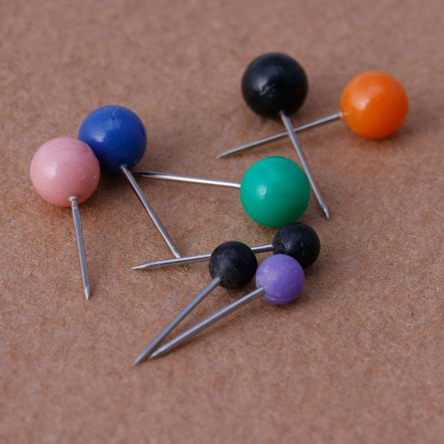 50Pcs/bag Multicolor Round Pearl Head Pins Fishing Line Brooches Fishing Tackle