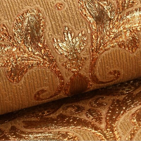 New European luxury thickening 3D wallpaper roll Damask European Vintage Wallpaper for Living room Golden wall paper mural