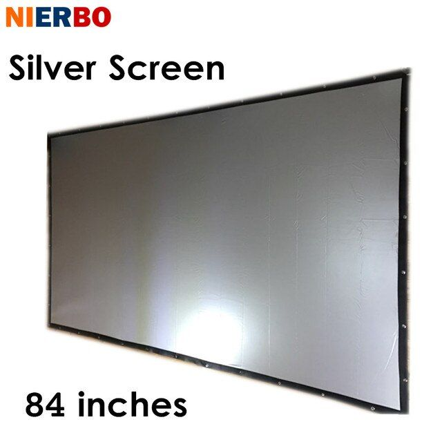 NIERBO 84 Inches Projection Screen Fast Fold Portable Silver Projection Screen 3D Video Movie Reducibility Wall Mounted