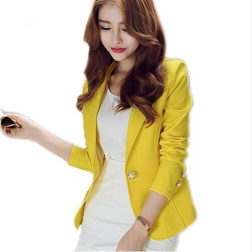 New Long-Sleeved Slim Women Blazers And Jackets Small Suit Korean Version Slim (Green Yellow Black) Blazer Femme H306
