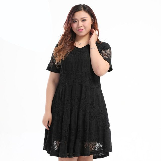 Extra Large Size Women Dress 2017 New Summer Short Sleeve V Collar Lace Patterns Black Dress Plus Big Size Female Dress 8XL 10XL