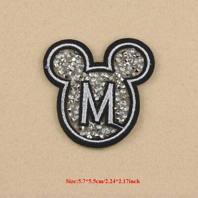 1pcs parches ropa Mickey Beaded Patch For Clothing Patchwork Glitter Embroidered Sequin Patches Applique Badge Dress Accessories