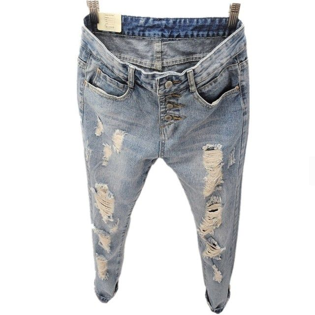 Boyfriend Jeans For Women 2015 New Fashion Summer Style Women Jeans Loose Holes Denim Harem Pants Ripped Jeans Woman BF19