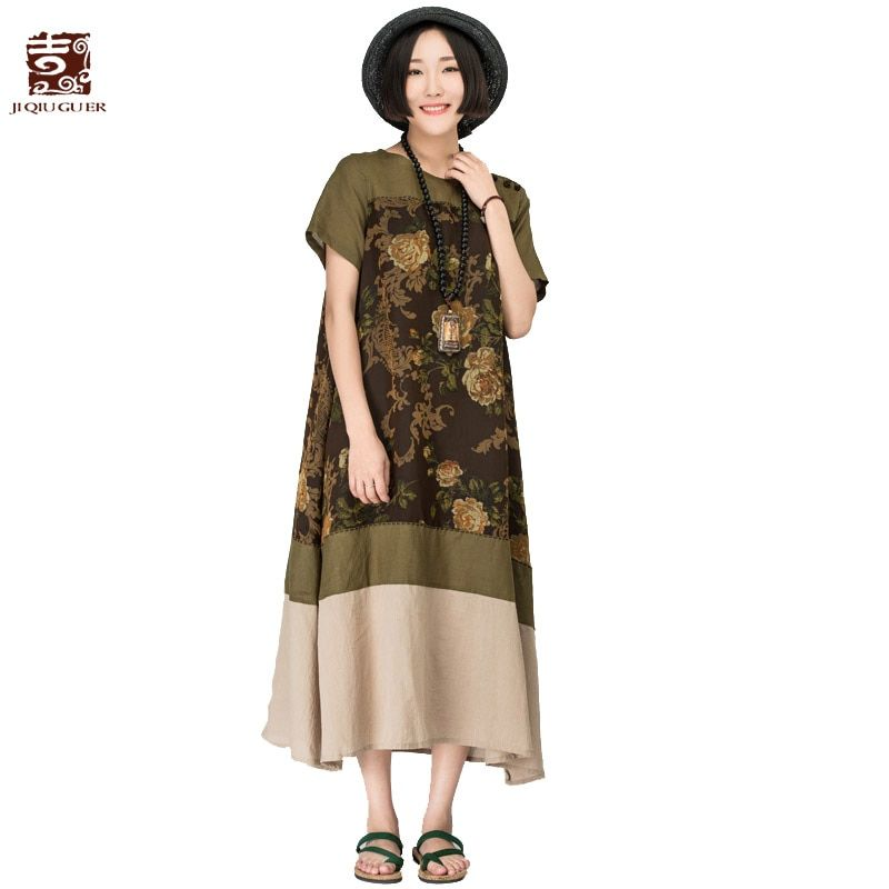 Jiqiuguer women vintage patchwork floral print dresses o-neck short sleeve A-line Loose cotton dress summer plus size G162Y018