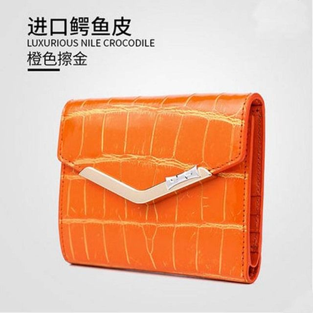 Gete real crocodile belly 24 k brush gold thirty percent women  wallet 2018 new brief paragraph crocodile leather purse