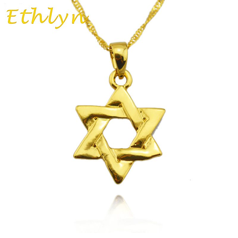 Ethlyn Gold Colo Hexagram Judaism pendant ,Israel  design /Magen David /Tantrism,Jewish Star,Solomon Jewelry  Pendant Chain  P94