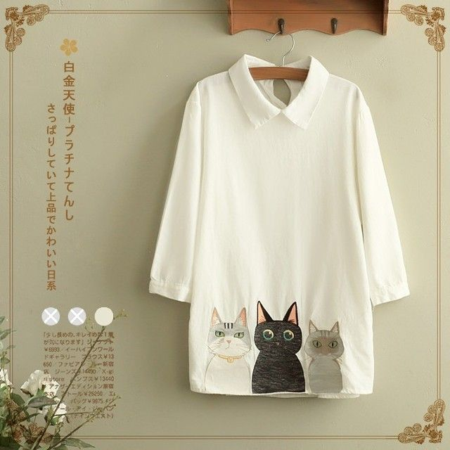 Three Cats Embroidery Small Lapel Cotton White Long Sleeved Ladies Linen Blouses Shirt Womens Traditional Chinese Tops