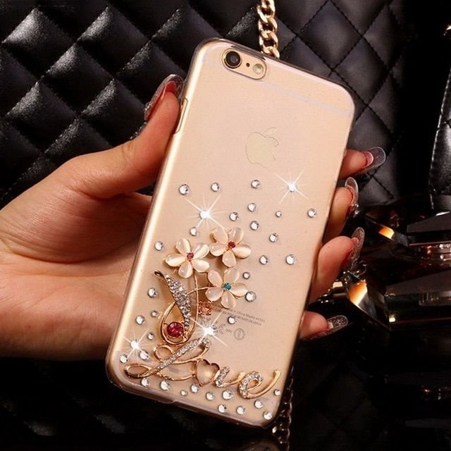Bling Rhinestone Phone Cases for Samsung S4 S5 mini S6 S7 edge S8 iPhone 5 SE 6s 7 Plus Bow Hello Kitty Lips Cat Crown Dragonfly