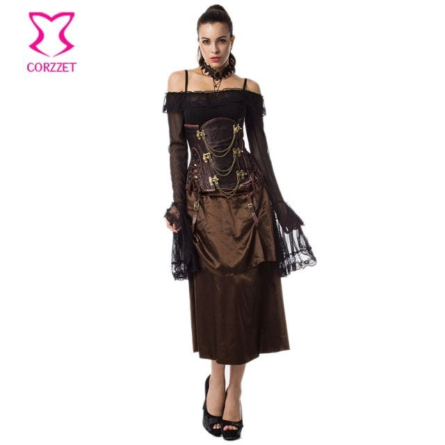 Vintage Corsage Steampunk Underbust Corset Skirt Gothic Clothing Korsett For Women Sexy Corsets And Bustiers Burlesque Dress