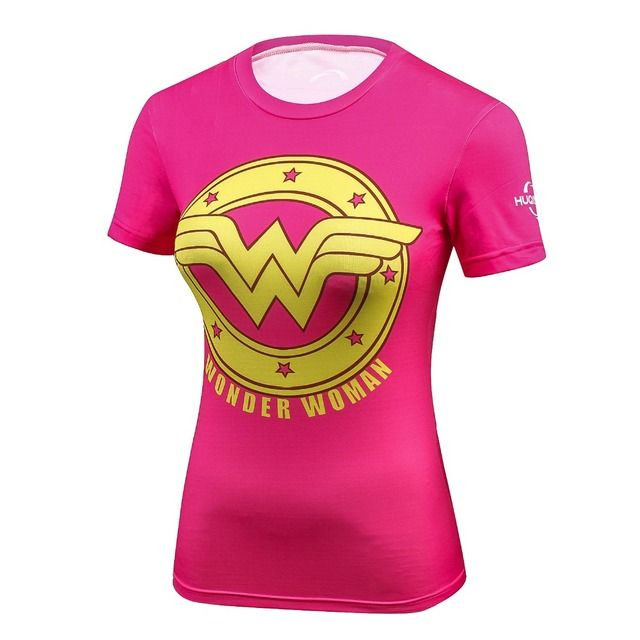 Ladies DC Comics Marvel Superman Batman/ Wonder Women's Fitness joger T Shirt Girls Bodybuilding Compression Tights Tee Tops
