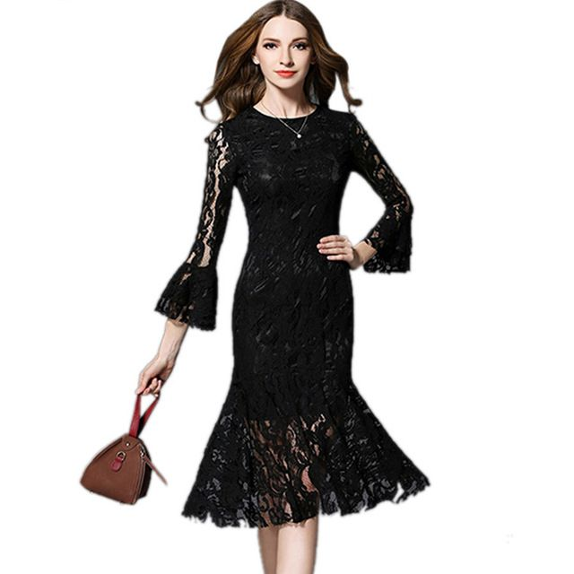 Luxury Runway Dresses 2018 Women High Quality Spring Black Lace Dress Flare Sleeve Vintaget Bodycon Dresses Party Vestidos