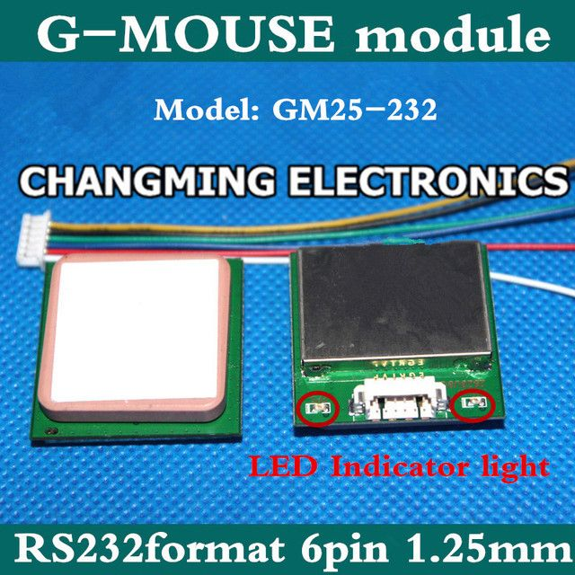 GM25-232 GLED brand  GPS antenna module one RS232 GMOUSE 25*25*4mm ceramic high strength GM30-TT(working 100% Free Shipping)1PCS