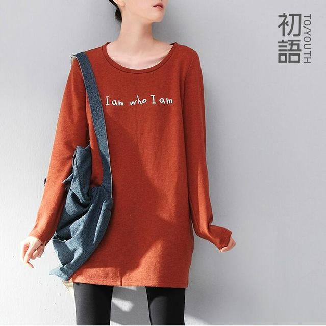 Toyouth Plus Size Women T-Shirts Cotton Letter Printed O-neck Long Sleeve Medium-Long Pullover Casual Loose Outwear Tee Top