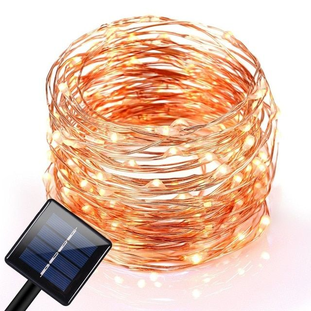 10M 120 LEDs Outdoor Solar LED String Fairy Light Curtain Light Waterproof Copper Wire Lights for Christmas Garden Home Party