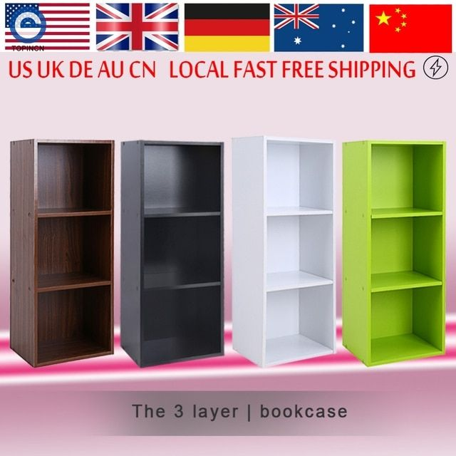 Bookcase Wood Display Shelves Storage Bookshelf 3 Level Tier Bookcase Stand Rack Unit Cube
