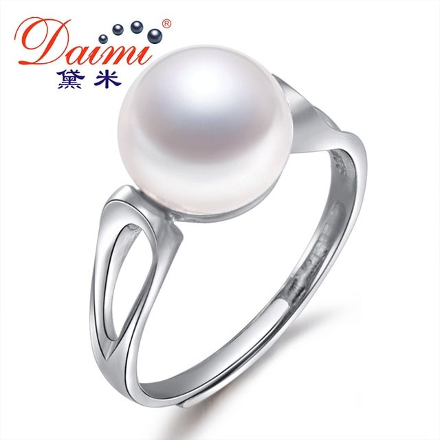 100% Natural Pearl Rings , 9-10mm White Freshwater Pearl Geometric Ring .