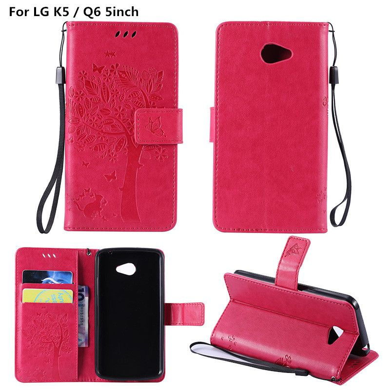"Coque For LG K5 / Q6 5"" Luxury Embossed Leather Wallet Card Holder Stand Flip Cover Case For LG K 5 Q 6 X220 X220DS Emboss Funda"