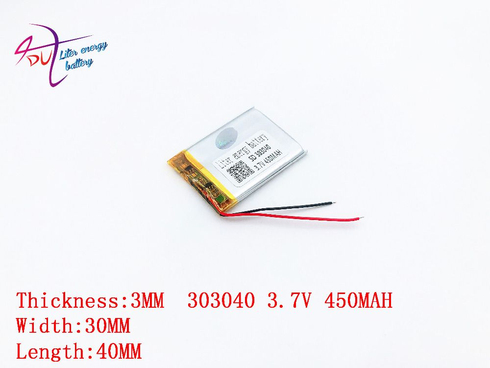 10psc 3.7 v 450 mah polymer li-ion battery rechargeable battery 303040 MP3/4/5 bluetooth monitor walkie-talkie batteries