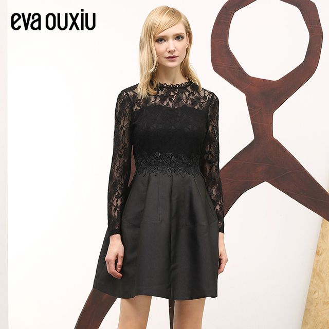 Evaouxiu Women Autumn Elegant Lace Dress  One-piece Long-sleeve Slim High Waist Knee-length Party A-line Dress Black