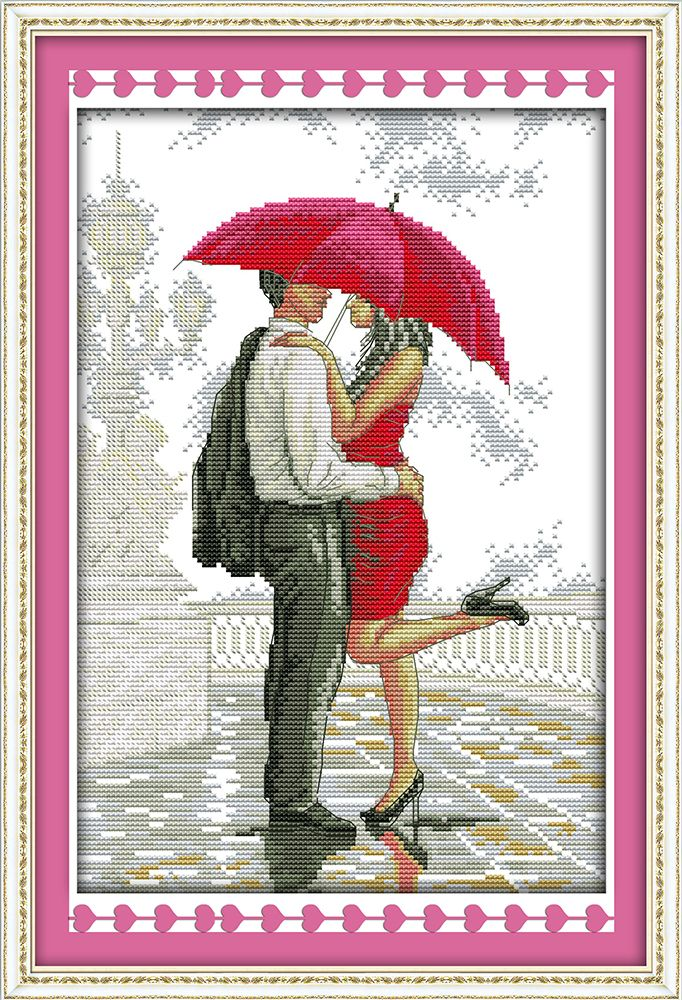 Romantic Walking in the Rain Counted Cross Stitch DMC Cotton Cross Stitch Sets Handmade Cross Stitch Kits Embroidery Needlework