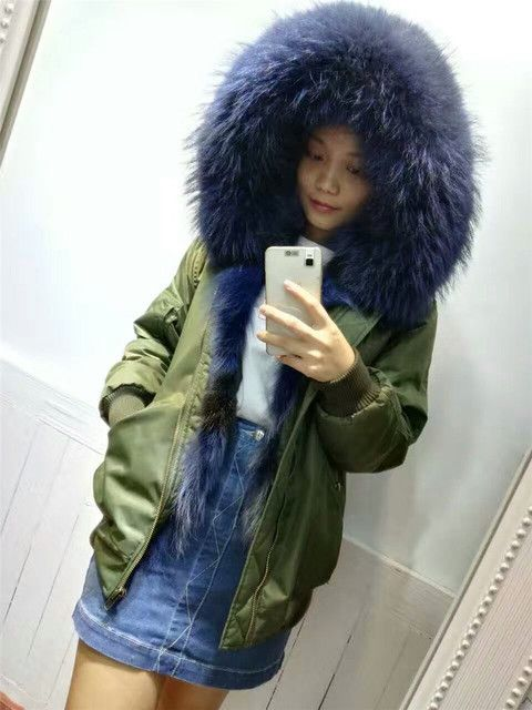 Thick warm Wolf fur inside coat real fur bomber jacket zipper real fur hooded winter outwear