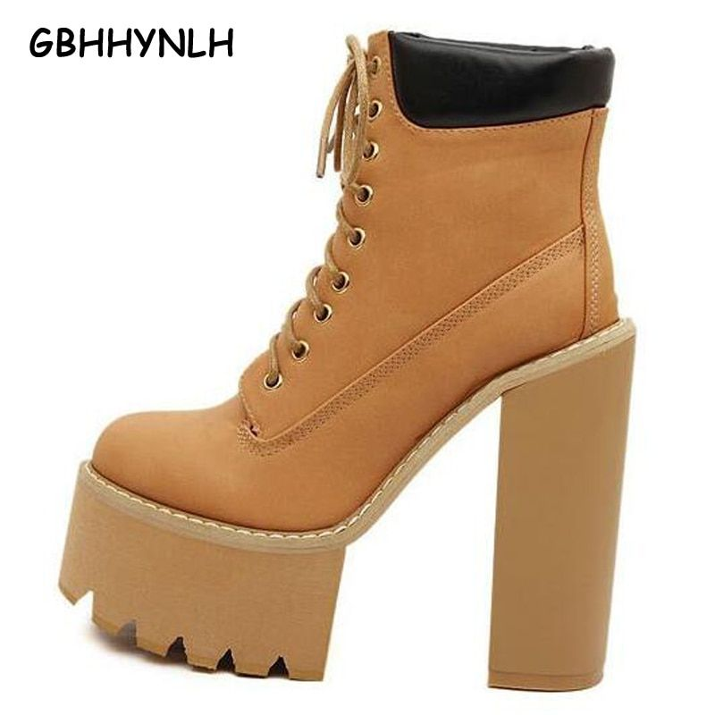 lace up boots women pumps winter autumn shoes women boots short high heels motorcycle women ankle fur boots platform boots LJA61