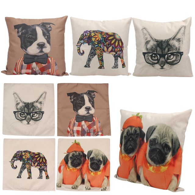 Cushion Cover 1PCS Floral Elephant Dog Cat Printed Linen Pillow Cover For Sofa Throw Pillow Case Chair Car Seat Pillowcases