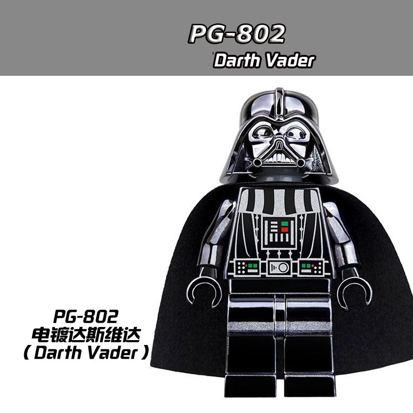 20pcs/Lot PG802 Chrom Darth Vader Starwars figures Collection Building Blocks Brick Children Gift Toys