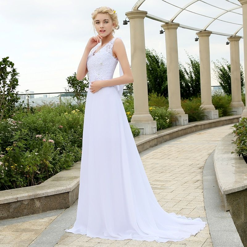 2016 Stock Chiffon Beach Wedding Dresses Vestidos de Novia Low Back Garden Bridal Gowns Plus Size