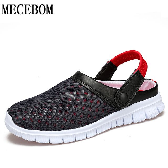Fashion Big Size 36-46 Men's Summer Shoes Breathable Mesh Mens Slippers Lightweight Slip On footwear L927M