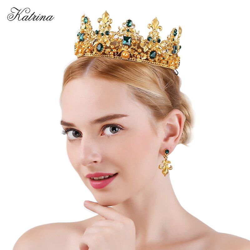 King queen Baroque Crown and Earrings red rhinestone bride tiaras women wedding gold crowns bridal hair jewelry accessories