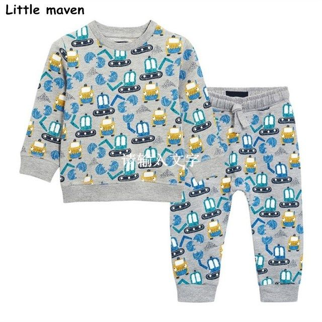Little maven brand children's clothing sets 2018 autumn boys terry cotton excavator print long sleeve T shirt + pants 20149