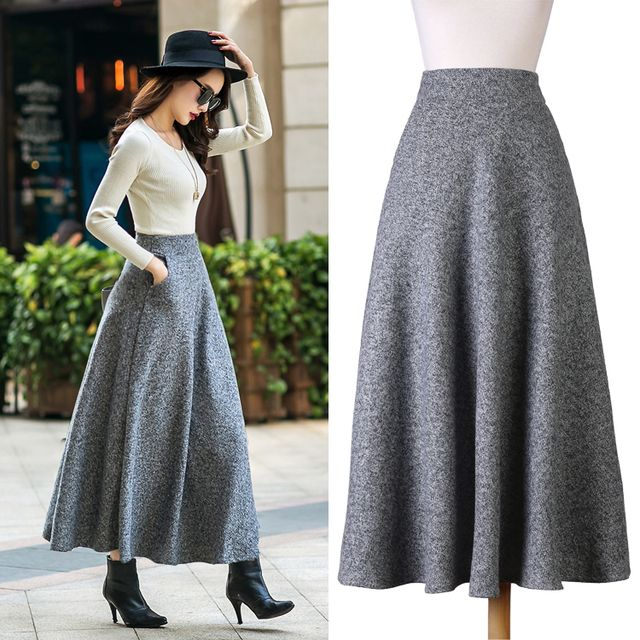British Style New Quality Winter Skirt 2017 Autumn Fashion Women's Long Woolen Skirts Big Buttom A-line Wool Skirts S - XXL