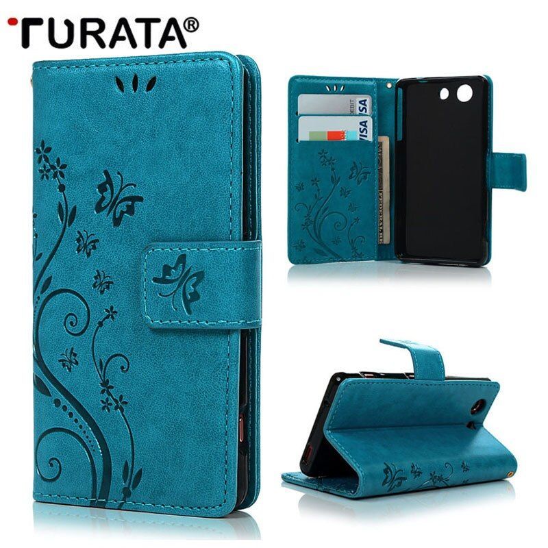"For Sony Z3 Compact 4.6"" Phone Bag Colorful Butterfly Painted Wallet Cover Flip Leather Case For Sony Xperia Z3 Mini With Stand"