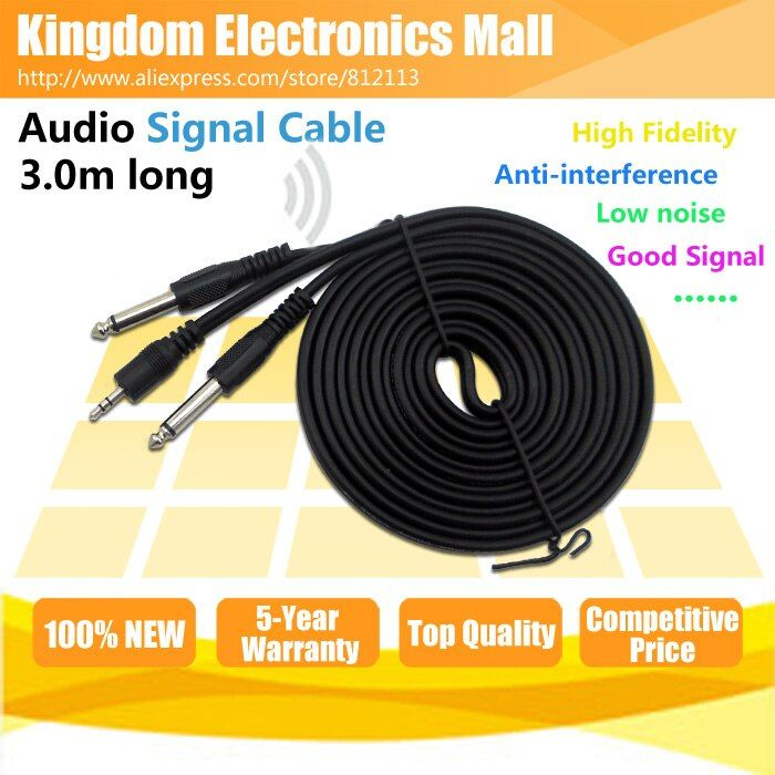 Free Shipping 10 feet Dual 6.3 6.35 6.5 mm to 3.5 mm Jack Plug Cable Male Connector Audio Lead Mixer Power Amplifier Wire Cord