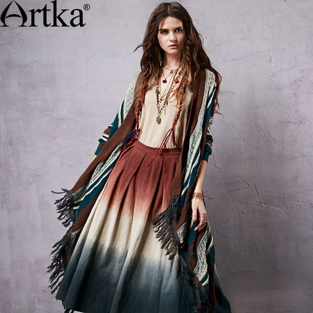 Artka Women's Color Patchwork Ethnic Skirts Zipper Design Original Cotton & Linen Material Modern Casual Skirt QX14157C