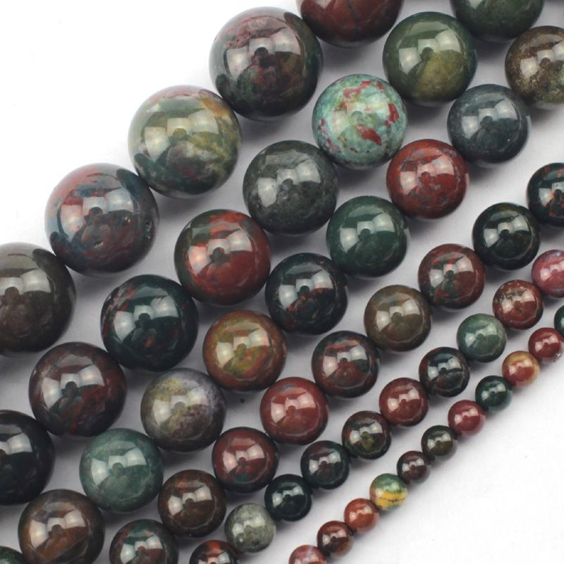 round bloodstone/heliotrope beads natural stone beads DIY loose beads for jewelry making strand 15 inches  free shipping