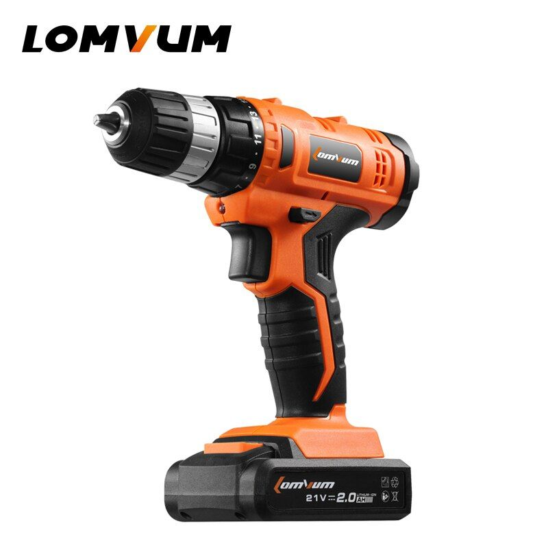 LOMVUM 21V Cordless Rechargeable Lithium/ Li-ion Battery Electric Drill Household Screwdriver Variable Speed Power Tools