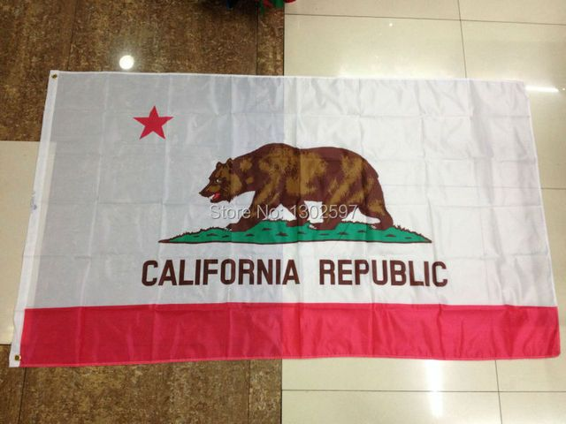 Free shipping 2pcs/lot 3ft x 5ft Hanging Flag Polyester California Republic Banner Outdoor Indoor  Big Flag for Celebration