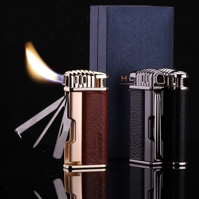 Honest  Retro style Pipe lighters  Multi-function butane gas Flame Tobacco Pipe Lighter Leather Gift box packaging