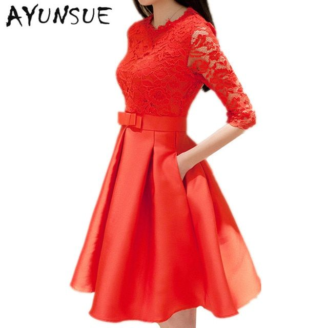 Robe Sexy Red Dress Lace Hollow 2018 Summer Dress Women Half Sleeve Party Dresses High Quality Bow knot Vestidos Mujer FYY399