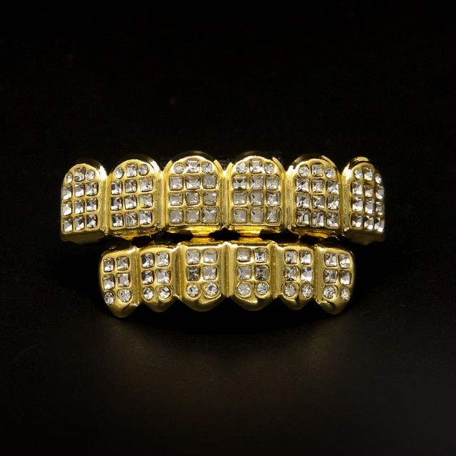 Hot Selling Gold Grillz Bling Top & Bottom Teeth Combo High quality GANGSTER Grillz Easy to wear your mouth grillz in minutes
