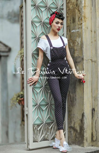Le Palais winter Vintage limited edition retro dots slim package hip pencil Bib/rompers