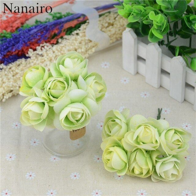 36pcs Silk Rose Bouquet Handmade Mini Artificial Flower For Wedding Decoration DIY Wreath Scrapbooking Craft Fake Peony Flower