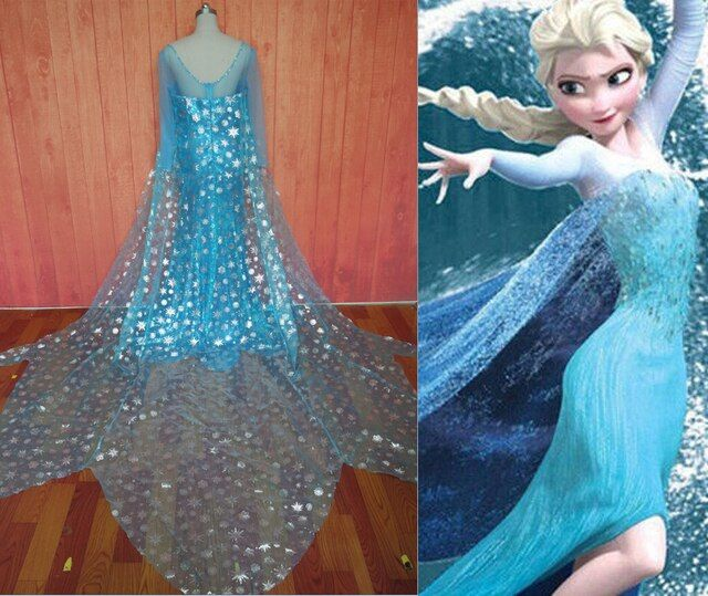Adult & Children Elsa Prom Dress Snow Queen Costume Princess Elsa Cosplay Dress For Kids & Adult Custom Any Size
