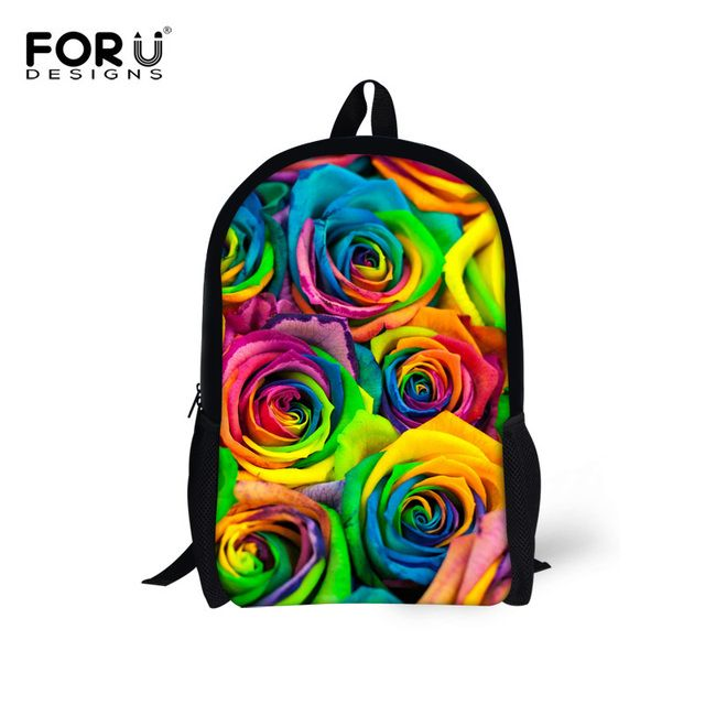 FORUDESIGNS 3D Floral Women Backpack Rose Pattern Children Travel Backpack Casual Shoulder Mochila Infantil For Girls Rucksack