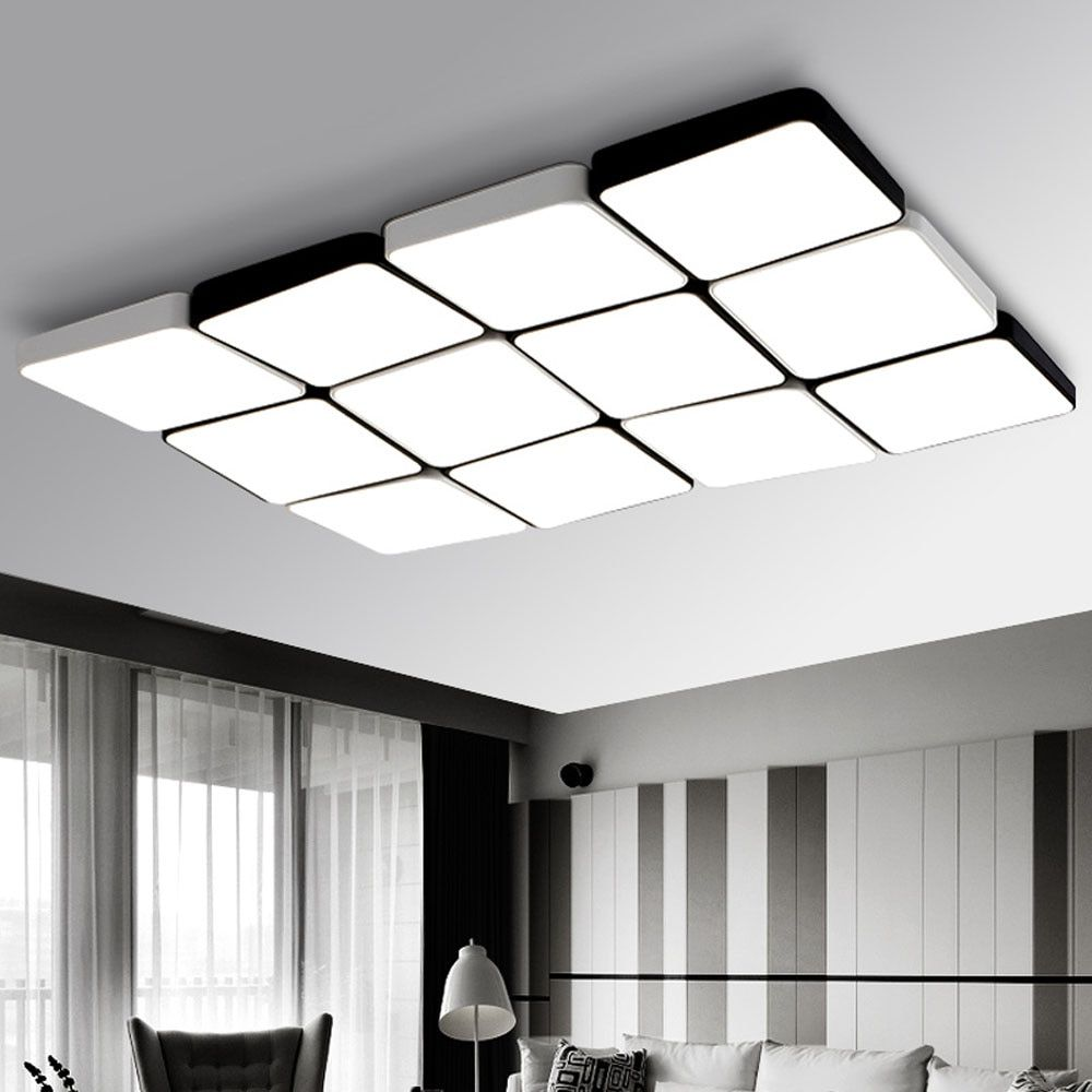 Z 12 Heads Stepless Dimming With Remote Control Modern Simple Rectangle LED Ceiling Light Fixture For Bedroom Light lamp