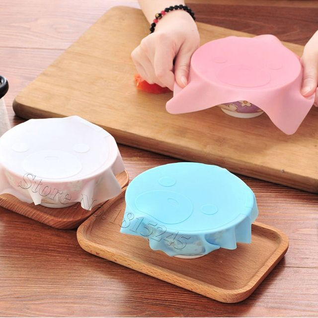 Hot Sale Lovely Cartoon Style Kitchen Tools Silicone Seal Cover Reusable Keep Food Fresh Plastic Wrap