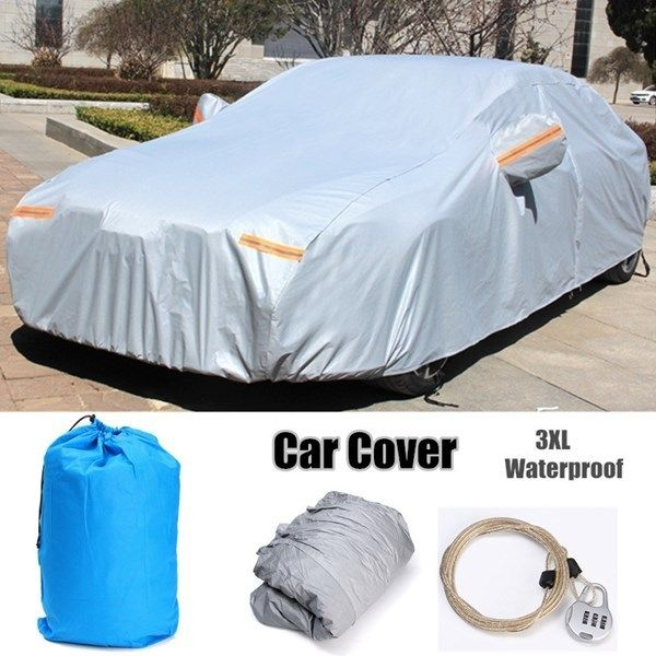 10 Layers Car Cover Soft Outdoor Waterproof Scratch Rain Snow Sun Resistant 3XL Silver Aluminum Soft Cotton Lining